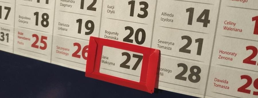 Widok na kalendarz z zaznaczonym dniem 27 grudnia