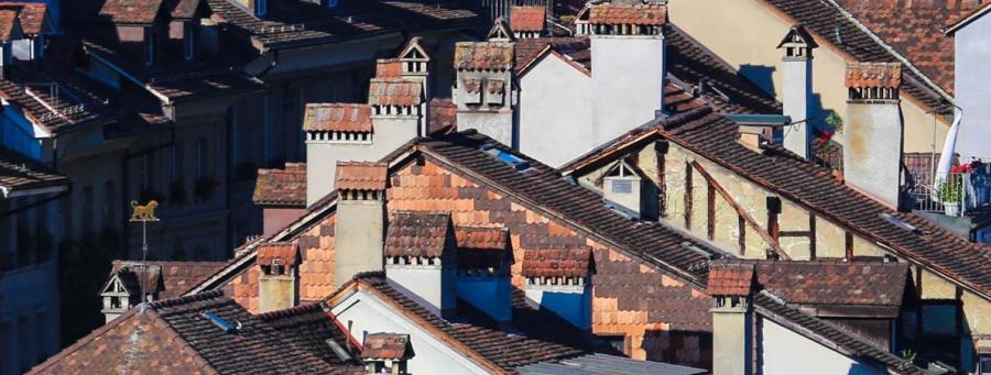 foto. James Podolsey - dachy miasta z kominami